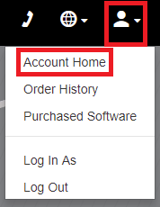 Account menu with Account Home