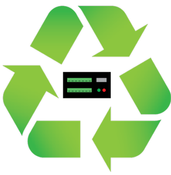 Recycle symbol with datalogger