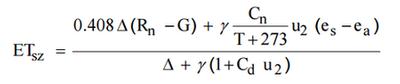 Reference evapotranspiration equation