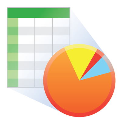 spreadsheet and pie chart