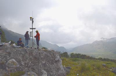 Weather station on cliff of volcano