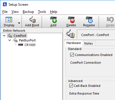 Setup Screen with ComPort selected